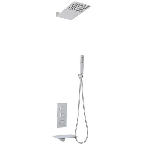 Milano Blade - Modern Wall Mounted Waterfall Bath Filler with Triple Diverter Thermostatic Mixer Shower Valve, Fixed Shower Head and Hand Shower Handset Kit - Chrome