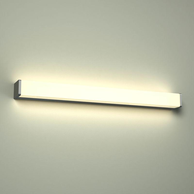 Image of Brazos - 12W LED Squared Chrome IP44 Over Mirror Bathroom Wall Bar Light - Warm White - Milano