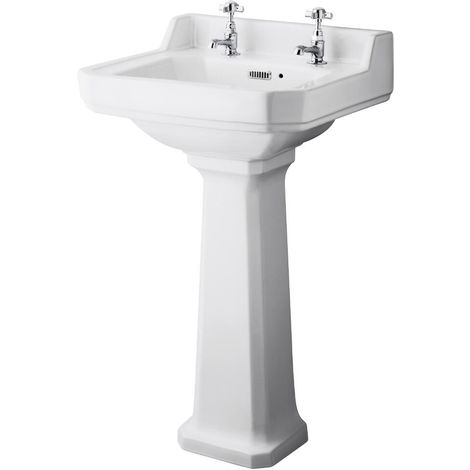 Milano Carlton - Traditional White Ceramic Bathroom Cloakroom Basin Sink with Full Pedestal and Two Tap Holes