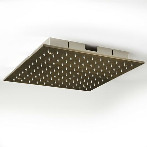 """main image of """"Milano Clarus - Modern 400mm Square Ceiling Mounted Recessed Shower Head - Brushed Gold"""""""
