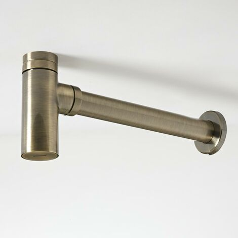 Milano Clarus - Modern Exposed Bottle Trap for Wall Hung or Washstand Basin - Brushed Gold