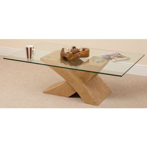 Milano Coffee Table [Glass and Solid Oak]