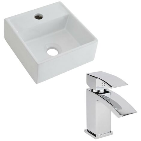 Milano Dalton - Modern White Ceramic 280mm Square Countertop Bathroom Basin Sink and Mono Basin Mixer Tap