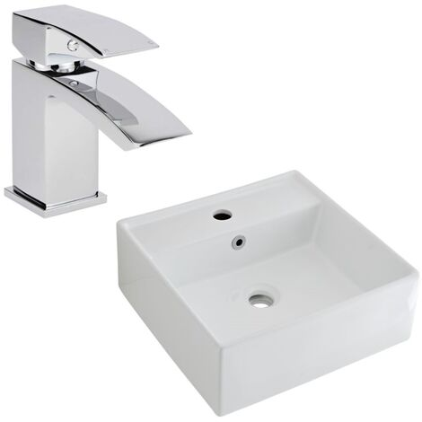 Milano Dalton - Modern White Ceramic 400mm Square Countertop Bathroom Basin Sink and Mono Basin Mixer Tap