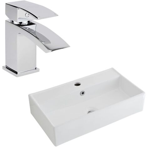 Milano Dalton - Modern White Ceramic 550mm x 310mm Rectangular Countertop Bathroom Basin Sink and Mono Basin Mixer Tap