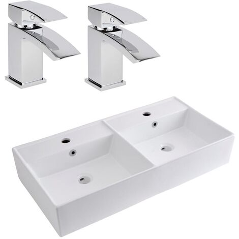 Milano Dalton - Modern White Ceramic 820mm x 420mm Rectangular Double Countertop Bathroom Basin Sink and 2 Mono Basin Mixer Taps