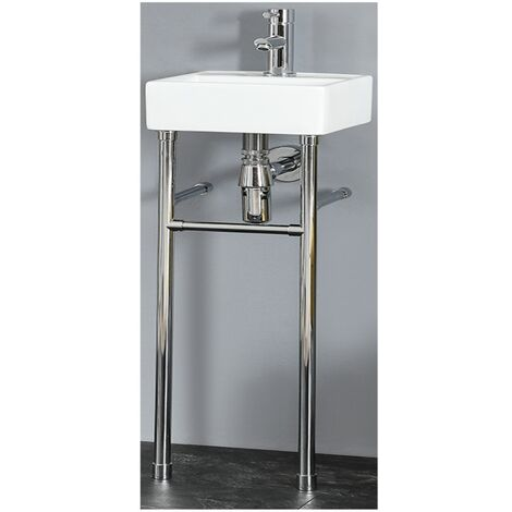 Milano Dalton - Modern White Ceramic Bathroom Basin Sink with Washstand