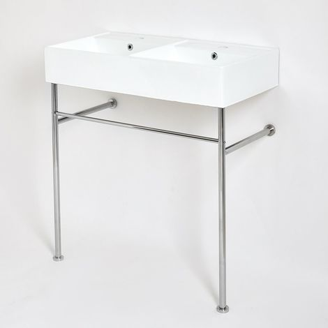 Milano Dalton - Modern White Ceramic Double Bathroom Basin Sink with Chrome Washstand - 820mm x 420mm