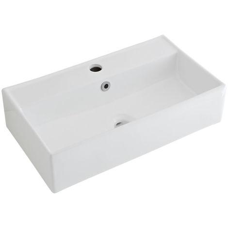 Milano Dalton - Modern White Ceramic Rectangular Countertop Wall Mounted Bathroom Basin Sink – 550mm x 310mm