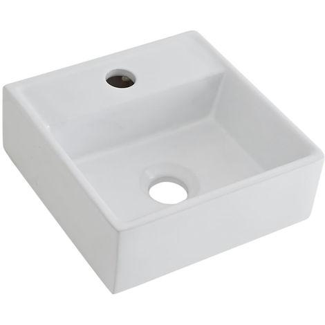 Milano Dalton - Modern White Ceramic Square Countertop Wall Mounted Bathroom Basin Sink – 280mm x 280mm