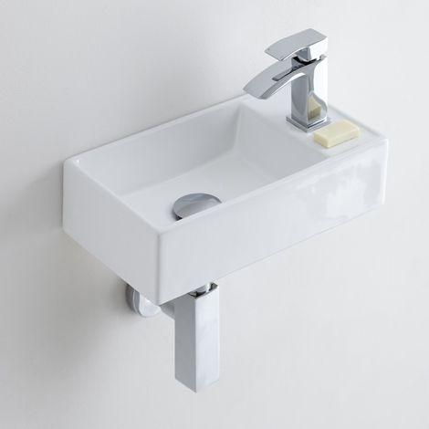 Milano Dalton - Square Ceramic Wall Hung Basin 400 x 220 mm