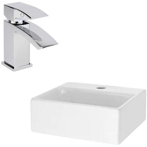 Milano Dalton - Wall Hung Counter Top White Ceramic Basin with Wick Mixer Sink Tap