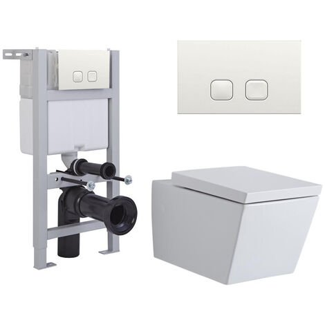 Milano Dalton - White Ceramic Modern Bathroom Wall Hung Square Toilet WC with Short Wall Frame Cistern and Flush Plate