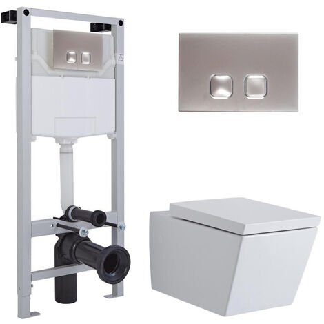 Milano Dalton - White Ceramic Modern Bathroom Wall Hung Square Toilet WC with Tall Wall Frame Cistern and Flush Plate