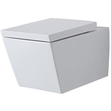 Milano Dalton - White Ceramic Modern Bathroom Wall Hung Toilet WC and Soft Close Seat