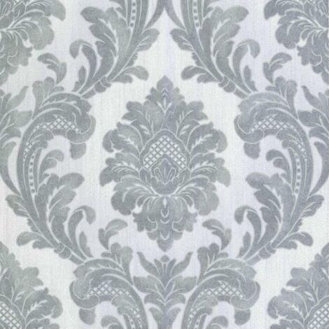 Milano Damask Wallpaper Fine Decor Heavyweight Vinyl Grey Textured Glitter
