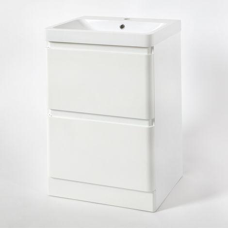Milano Daxon - White 600mm Bathroom Vanity Unit with Basin