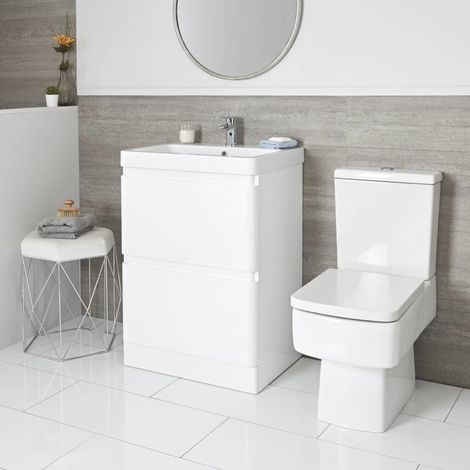 Milano Daxon - White 600mm Bathroom Vanity Unit with Basin and Close Coupled Toilet WC Pan with Soft Close Seat and Cistern