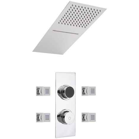 Milano Digital Thermostatic Three Outlet Shower with Water Blade and Rainfall Shower Head & Body Jets