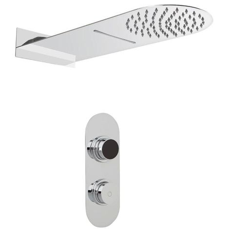 Milano Digital Thermostatic Two Outlet Shower with Water Blade and Rainfall Shower Head
