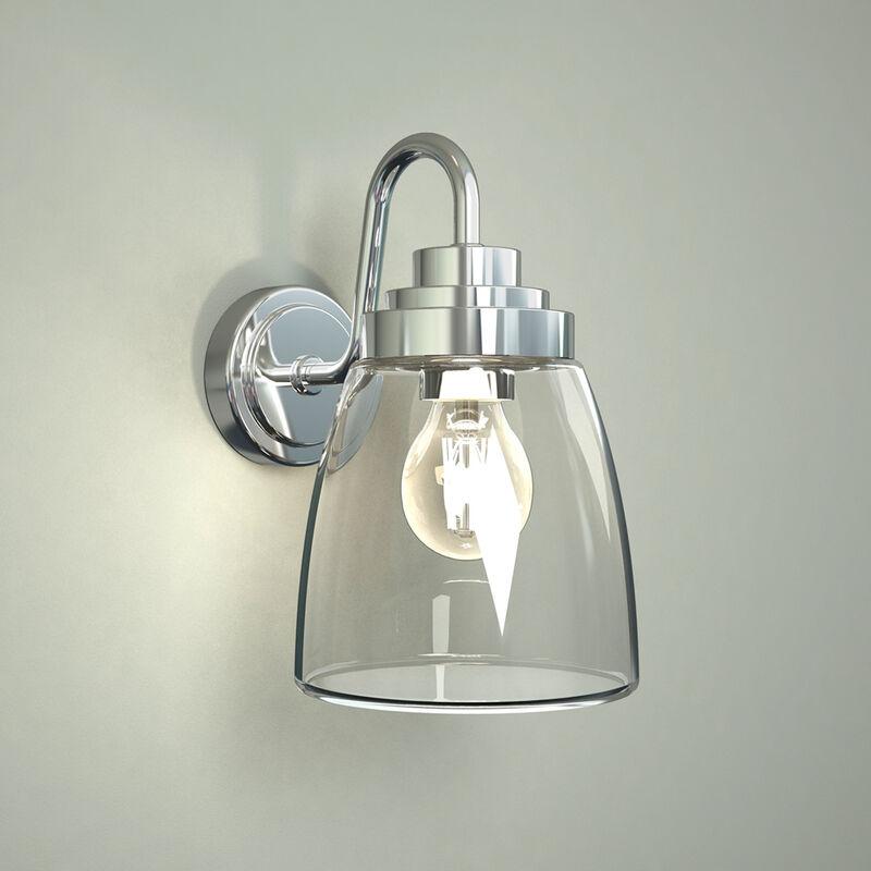 Image of Dochart - E27 Chrome Gooseneck IP44 Bathroom Wall Lantern Light with Curved Glass - Milano