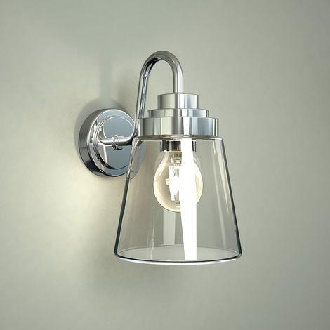 Milano Dochart E27 Chrome Gooseneck Bathroom Wall Lantern Light with Straight Glass - IP44 Waterproof