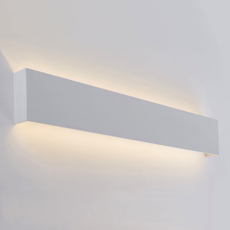 Image of Eamont - 18W LED Matt White Rectangular IP44 Bathroom Up/Down Wall Light - Warm White - Milano