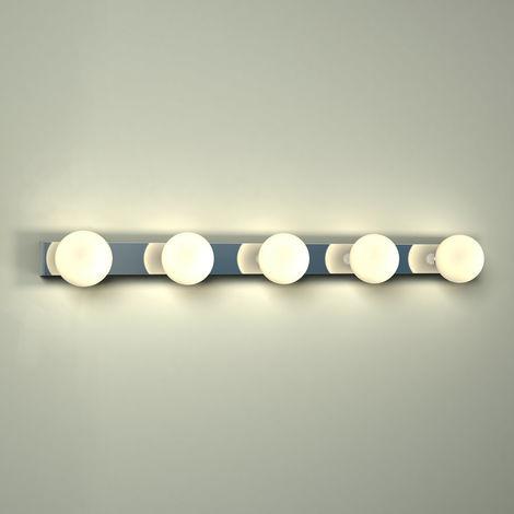 Milano Ebro - 15W LED Hollywood Chrome IP44 Bathroom or Bedroom Over Mirror Wall Light
