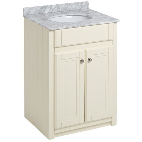 Milano Edgworth - Ivory 600mm Bathroom Vanity Unit with Basin and Marble Effect Granite Top