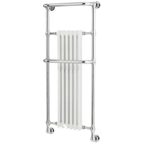 Milano Elizabeth - 1365mm x 575mm Traditional Heated Towel Rail Radiator with Cast Iron Style Insert – Chrome and White