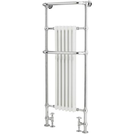 Milano Elizabeth - 1500mm x 575mm Traditional Heated Towel Rail Radiator with Cast Iron Style Insert – Chrome and White