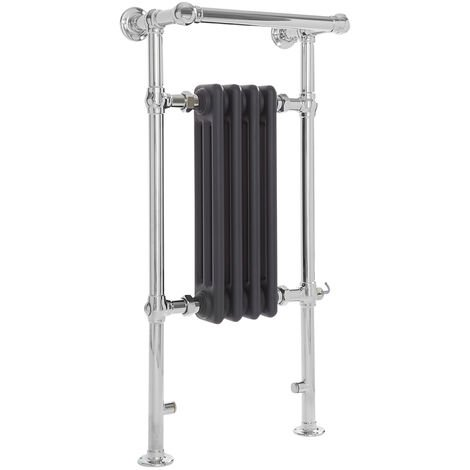 Milano Elizabeth - 930mm x 452mm Traditional Electric Heated Towel Rail Radiator with Cast Iron Style Insert and Overhanging Rail – Chrome and Anthracite