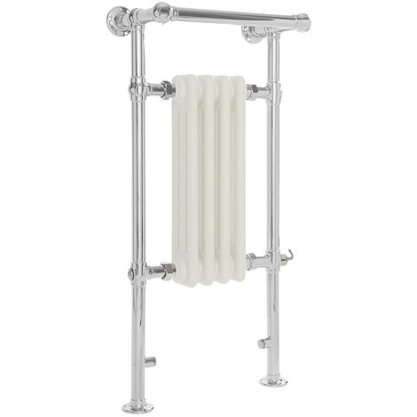 Milano Elizabeth - 930mm x 452mm Traditional Electric Heated Towel Rail Radiator with Cast Iron Style Insert and Overhanging Rail – Chrome and White