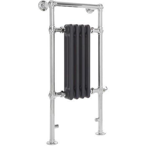 Milano Elizabeth - 930mm x 452mm Traditional Electric Heated Towel Rail Radiator with Cast Iron Style Insert – Chrome and Anthracite