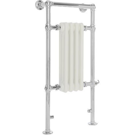 Milano Elizabeth - 930mm x 452mm Traditional Electric Heated Towel Rail Radiator with Cast Iron Style Insert – Chrome and White