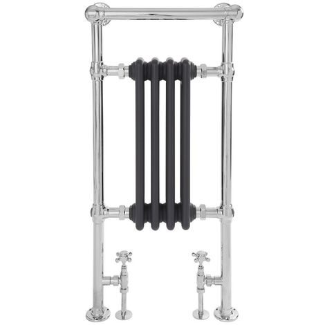 Milano Elizabeth - 930mm x 452mm Traditional Heated Towel Rail Radiator with Cast Iron Style Insert and Overhanging Rail – Chrome and Anthracite