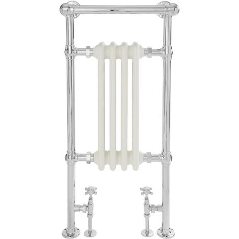 Milano Elizabeth - 930mm x 452mm Traditional Heated Towel Rail Radiator with Cast Iron Style Insert and Overhanging Rail – Chrome and White
