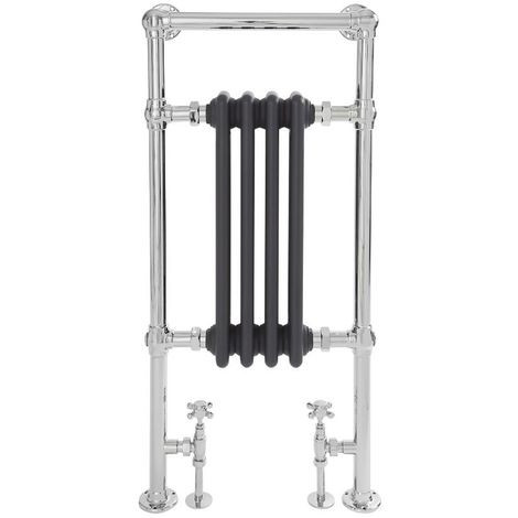 Milano Elizabeth - 930mm x 452mm Traditional Heated Towel Rail Radiator with Cast Iron Style Insert – Chrome and Anthracite