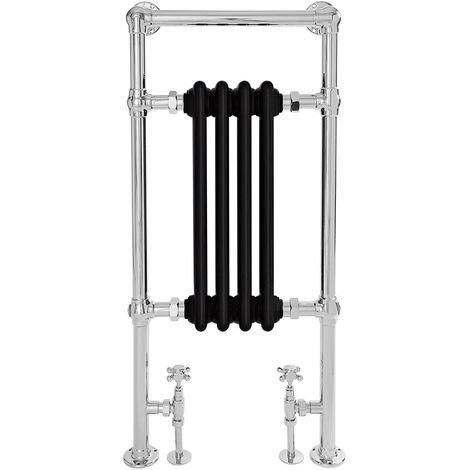 Milano Elizabeth - 930mm x 452mm Traditional Heated Towel Rail Radiator with Cast Iron Style Insert – Chrome and Black