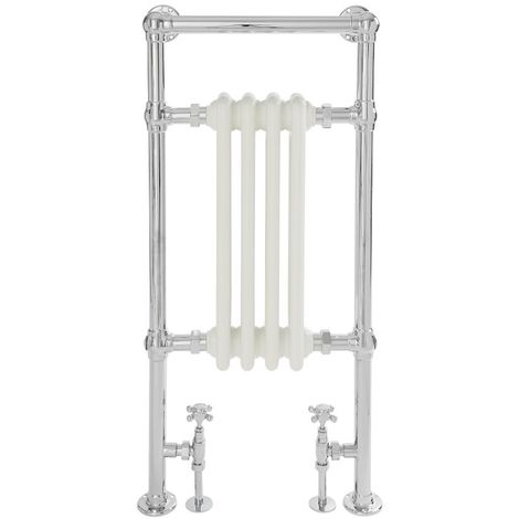 Milano Elizabeth - 930mm x 452mm Traditional Heated Towel Rail Radiator with Cast Iron Style Insert – Chrome and White