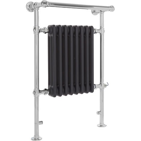 Milano Elizabeth - 930mm x 620mm Traditional Electric Heated Towel Rail Radiator with Cast Iron Style Insert and Overhanging Rail – Chrome and Anthracite