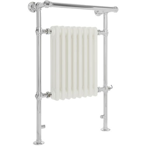 Milano Elizabeth - 930mm x 620mm Traditional Electric Heated Towel Rail Radiator with Cast Iron Style Insert and Overhanging Rail – Chrome and White