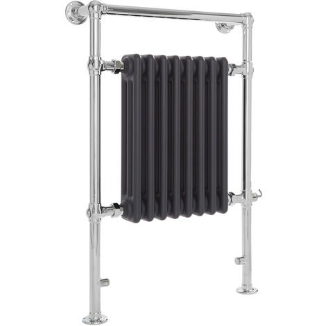 Milano Elizabeth - 930mm x 620mm Traditional Electric Heated Towel Rail Radiator with Cast Iron Style Insert – Chrome and Anthracite