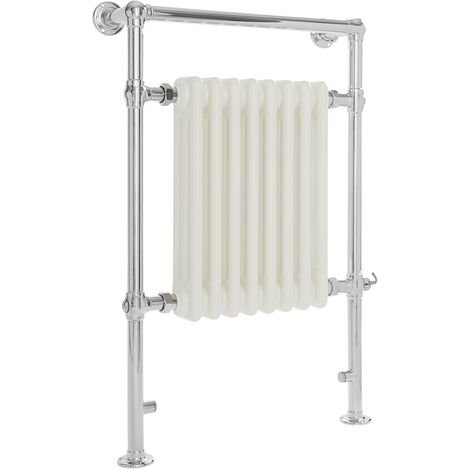 Milano Elizabeth - 930mm x 620mm Traditional Electric Heated Towel Rail Radiator with Cast Iron Style Insert – Chrome and White