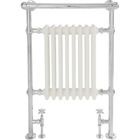Milano Elizabeth - 930mm x 620mm Traditional Heated Towel Rail Radiator with Cast Iron Style Insert and Overhanging Rail – Chrome and White
