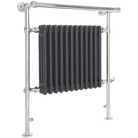 Milano Elizabeth - 930mm x 790mm Traditional Electric Heated Towel Rail Radiator with Cast Iron Style Insert and Overhanging Rail – Chrome and Anthracite