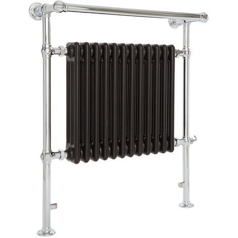Milano Elizabeth - 930mm x 790mm Traditional Electric Heated Towel Rail Radiator with Cast Iron Style Insert and Overhanging Rail – Chrome and Black