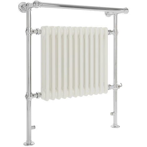 Milano Elizabeth - 930mm x 790mm Traditional Electric Heated Towel Rail Radiator with Cast Iron Style Insert and Overhanging Rail – Chrome and White