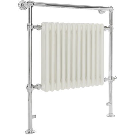 Milano Elizabeth - 930mm x 790mm Traditional Electric Heated Towel Rail Radiator with Cast Iron Style Insert – Chrome and White