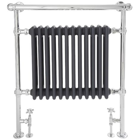 Milano Elizabeth - 930mm x 790mm Traditional Heated Towel Rail Radiator with Cast Iron Style Insert and Overhanging Rail – Chrome and Anthracite